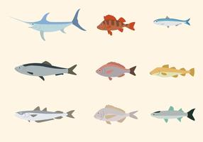 Flat Fish Vectors