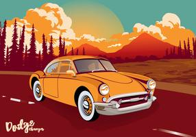 Vintage Classic Car Dodge Charger Across The Road Vector Illustration