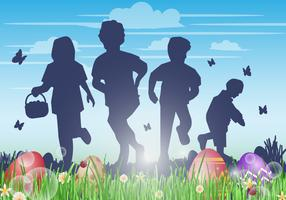 Kids Hunting Easter Egg Vector Background