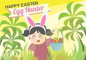 Easter Egg Hunt Kids Background Vector