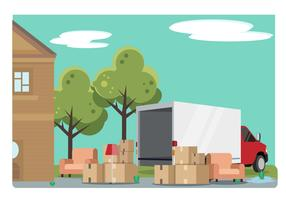 Home Relocation With Moving Van Vector Illustration