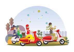 Happy Girl Lambretta Gang Vector