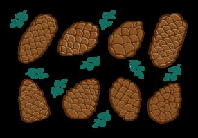 Pine Cones Icons Vector