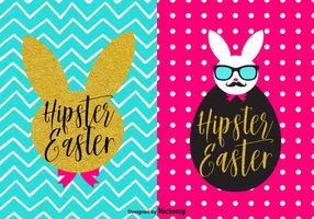 Trendy Bunny Hipster Easter Vector Poster Set