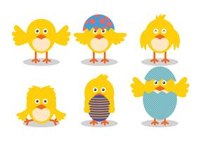 Easter Chick Cute Vector Illustration Set
