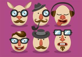 Man Hipster Easter Vector Set