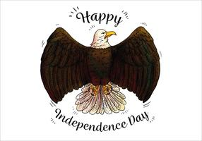 Watercolor Bald Eagle Independence Day Vector