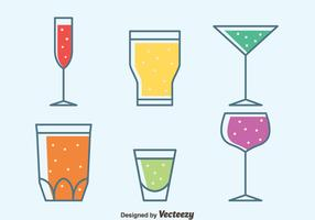 Colorful Glass Of Sprizt Collection Vectors
