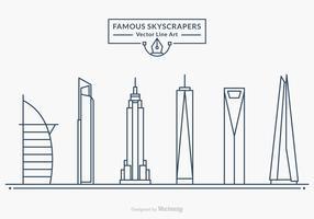 Free Famous Skyscrapers Vector Line Art