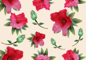 Pink Rhododendron Watercolor Seamless Pattern