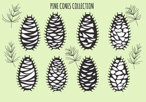 Vector set with pine cones isolated on green