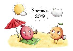 Cute Beach Scene With Cute Character Fruit Taking Sun In Summer
