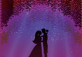 Groom And Bride Under Blossom Wisteria