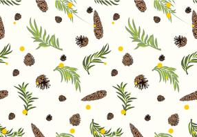 Pine Cones Pattern White Free Vector