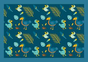 Dodo Cartoon Pattern Free Vector