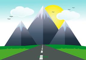 Cute Flat Landscape with Road Illustration