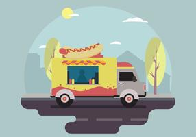 Free Hot dog Food Truck Vector Scene