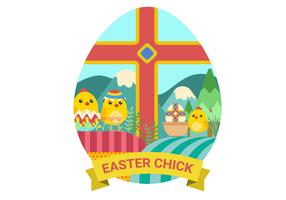 Easter Chicks Vector Illustration