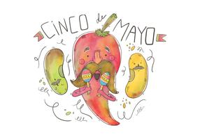 Happy Jalapeno Character With Moustache for Cinco de Mayo Vector
