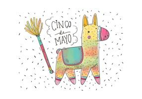 Cute Colorful Watercolor Pinata for Cinco De Mayo Vector