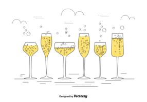 Champagne Glasses Vector Set