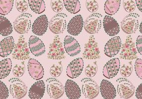 Floral Chocolate Easter Eggs Pattern Vector