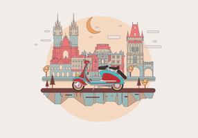 Vintage Lambretta in a European Town Vector