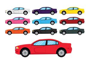 Dodge charger car illustration set