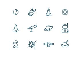 Astronomy Icons in Outline Style