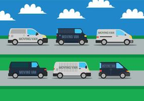 Moving van vector set