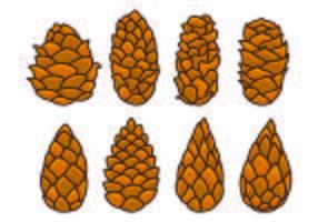 Set Of Pine Cones Vectors