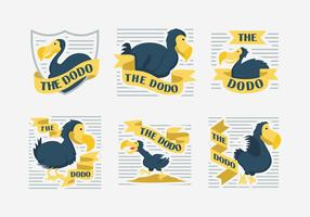 Dodo Character Label Vector Illustration