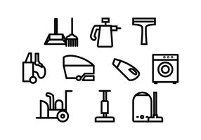 Free Cleaning Tools Line Icon Vector