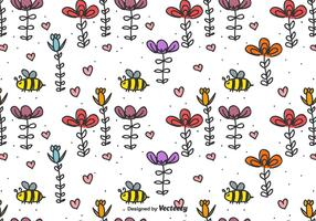 Bee  And Flowers Vector Background
