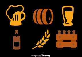 Beer Element Icons Collection Vectors