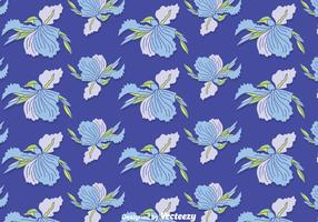 Blue Iris Flowers Seamless Pattern Vector