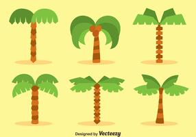 Flat Plam Tree Collection Vectors