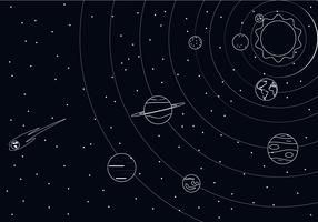 Outline Solar System Free Vector