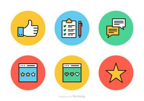 Testimonials And Feedback Flat Line Vector Icons