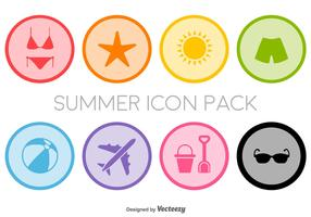 Flat Summer Icons Set - Vector