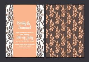 Vector Watercolor Wedding Invitation with Hand Drawn Branches