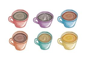 Vector Hand Drawn Colorful Mugs