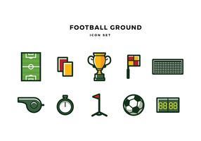Football Ground Icon Set Free Vector