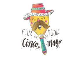 Cute Colorful Maraca Singing for Cinco De Mayo