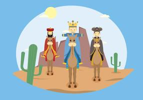 Free Three Wise Man Go To Baby Jesus's Place Illustration
