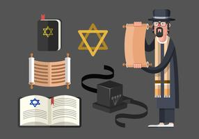 Tefillin And Jewish Traditional Symbols Vector Set