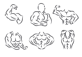 Flexing Outline Vector