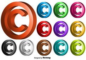 Vector 3D Copyright Symbol Set