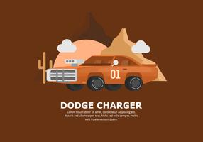 Orange Dodge Car Illustration