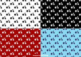 Scooter Flat Icons Seamless Pattern - Vector